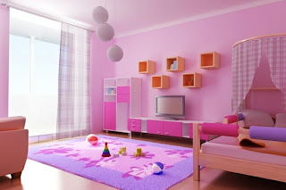 pink, purple and orange girl's bedroom