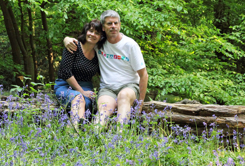 A romantic shot from 2011 featuring Is This Mutton? blogger Gail Hanlon and husband in a bluebell wood