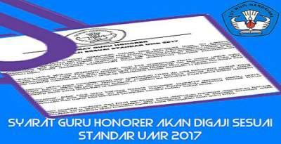Syarat Guru Honorer Akan Digaji Sesuai Standar UMR 2017.