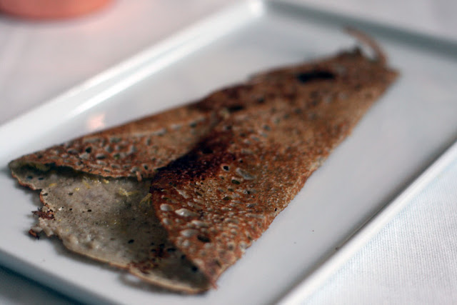 Sweet Buckwheat crepe with sugar and lemon zest inside