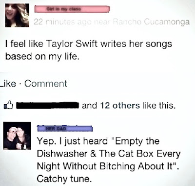 facebook post I feel like Taylor Swift writes her songs based on my life. Dad I just heard empty the dishwasher. Catchy tune. Teardrops On My Guitar.  Marchmatron.com
