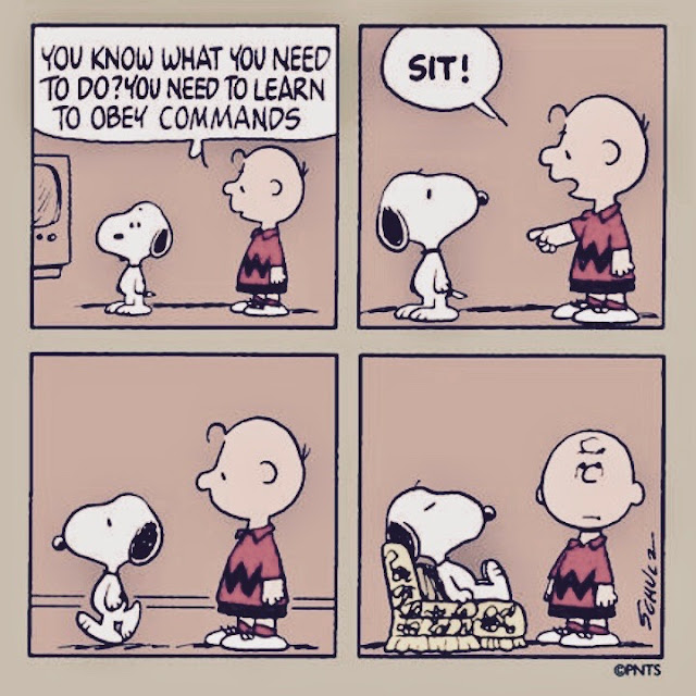 Charlie Brown to Snoopy. You know you need to learn to obey commands. Sit. Snoopy gets recliner and sits. Does sighing count as exercise?.jpg
