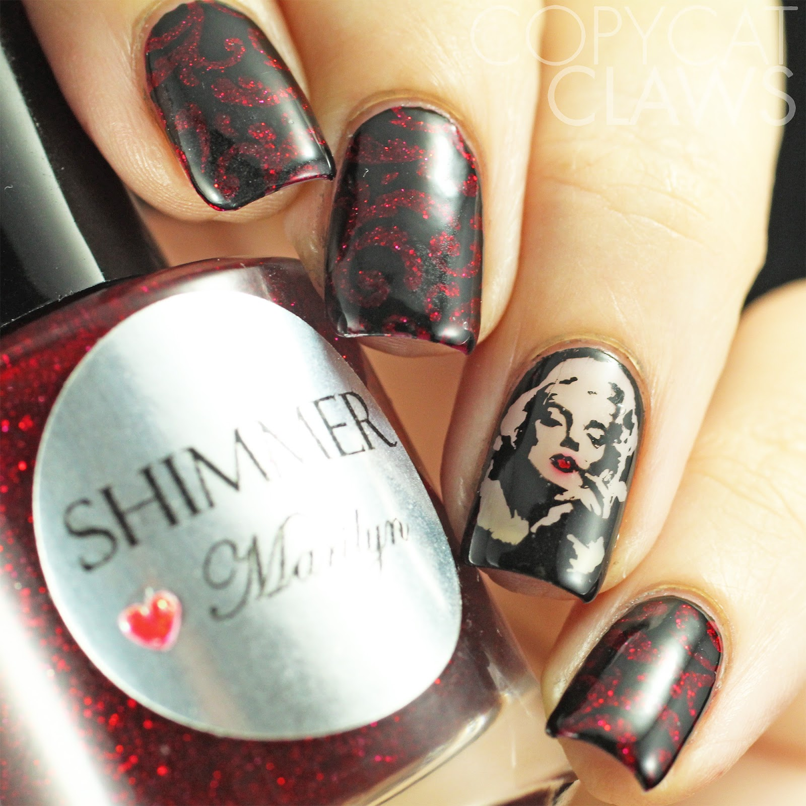 Copycat Claws: The Digit-al Dozen does Vampy: Marilyn Monroe Nail Art