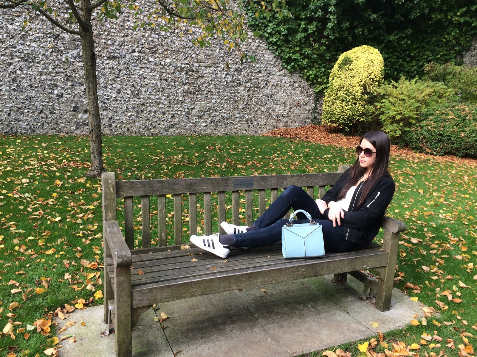 OOTD, outfit post, bomber jacket, fashion blogger, autumn, adidas trainers, topshop mini bag, sunglasses
