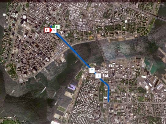 Brooklyn Bridge run satellite image