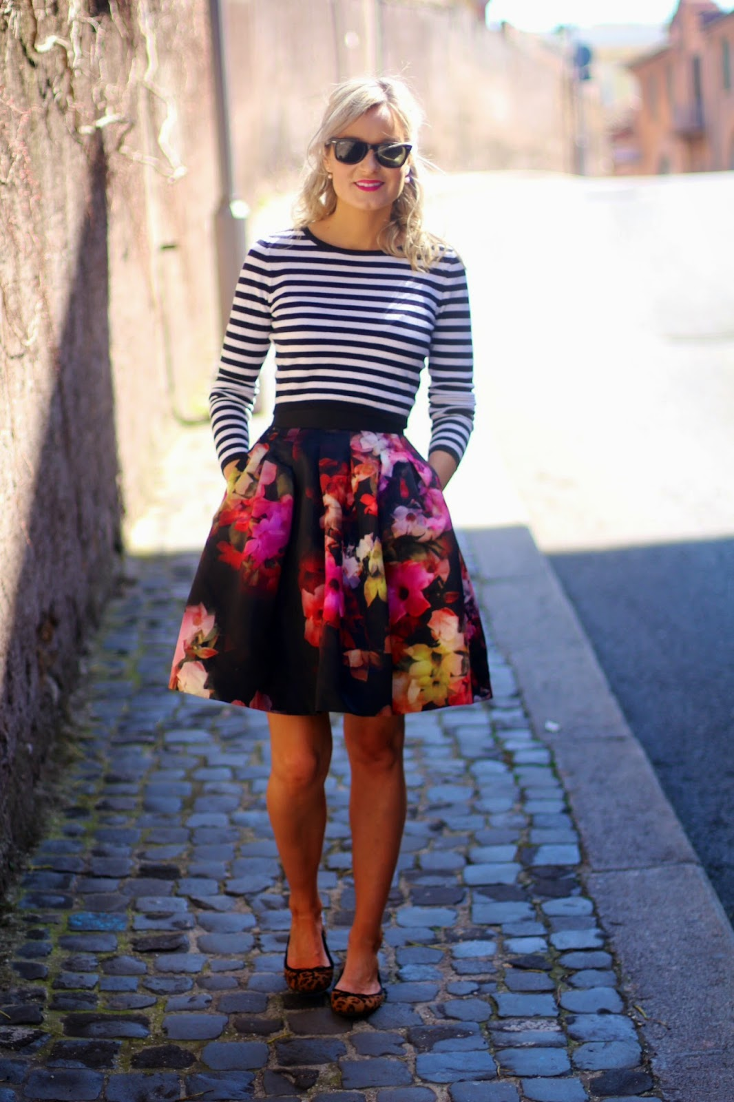 d51ec315b Striped Cop Top H&M (Old similar here and here) Ted baker floral full skirt  you can buy here (Im wearing a 0 for reference)