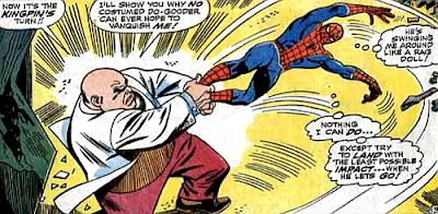 Amazing Spider-Man #60, don heck, john romita, kingpin grabs spider-man by the ankles an swings him around