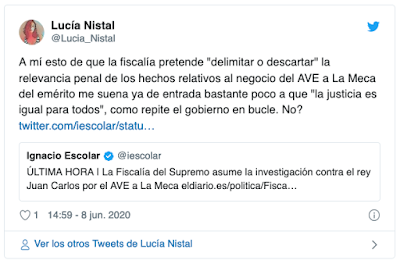 https://twitter.com/Lucia_Nistal/status/1269977268027363328?ref_src=twsrc%5Etfw%7Ctwcamp%5Etweetembed%7Ctwterm%5E1269977268027363328&ref_url=http%3A%2F%2Fwww.izquierdadiario.es%2FEl-olor-a-corrupcion-de-la-monarquia-llega-hasta-el-Tribunal-Supremo
