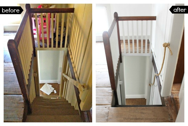 antique farmhouse steep staircase makeover