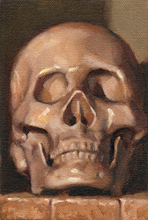 Oil painting of a plastic skull facing the viewer.