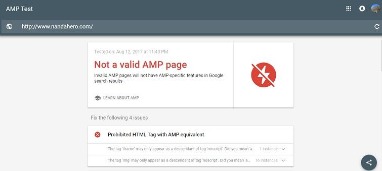 hasil cek template amp blog nanda hero yang tidak valid