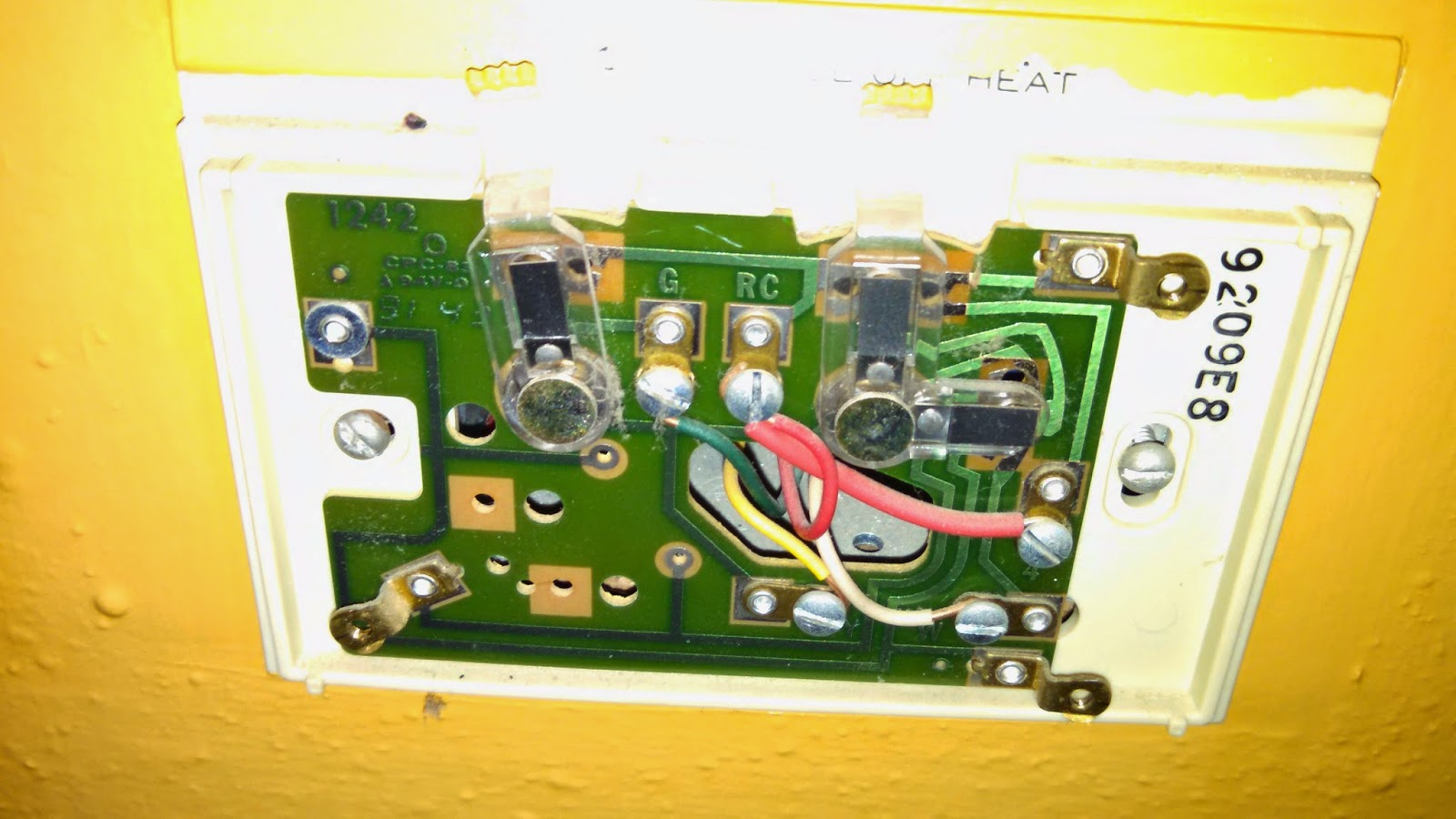hight resolution of circuit card and wire connections in old thermostat image source dr penny pincher