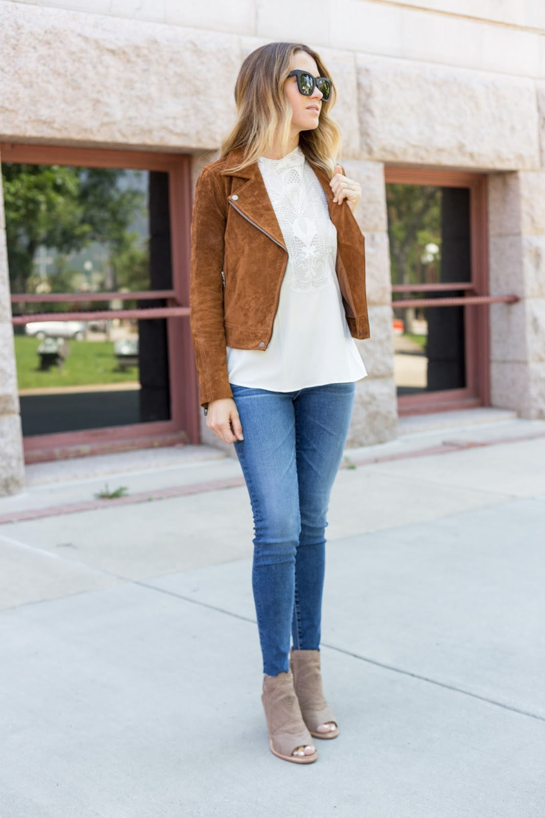 Suede Jacket with Lace Top - The Must Have Brown Suede Jacket For Fall by Colorado fashion blog