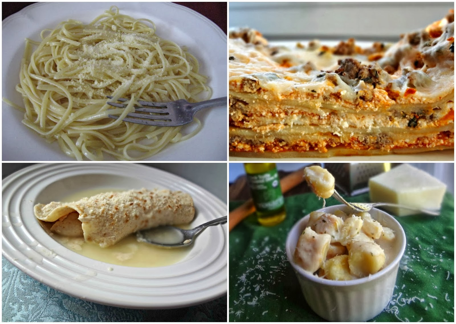 "Linguine con aglio e olio d'oliva, Lasagna, Sicilian ""Enchiladas"", and Toasted Ricotta Gnocchi with Parmesan Truffle Cream Sauce"