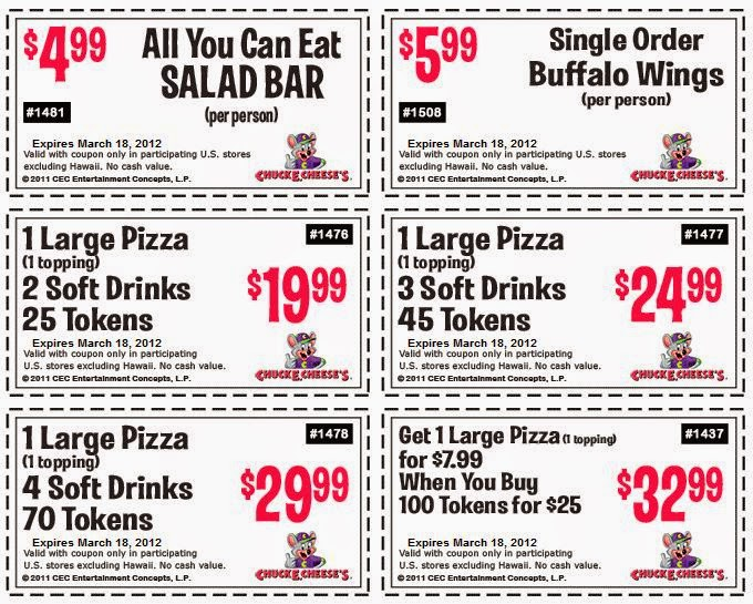 Here are the Chuck E Cheese Coupons and Menu Specials. Don't miss this week Chuck E Cheese pizza menu specials, like the pizza coupons and deals, including 2 large pizzas for only $22 and save money with Chuck E Cheese Coupons (an average of $10).