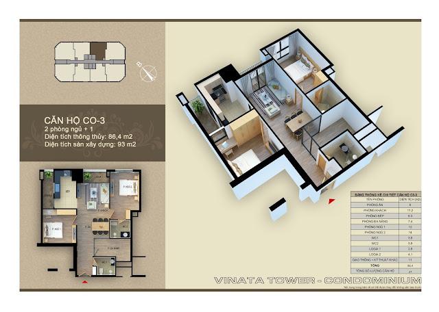 Căn hộ 03 diện tích 86,4 m2