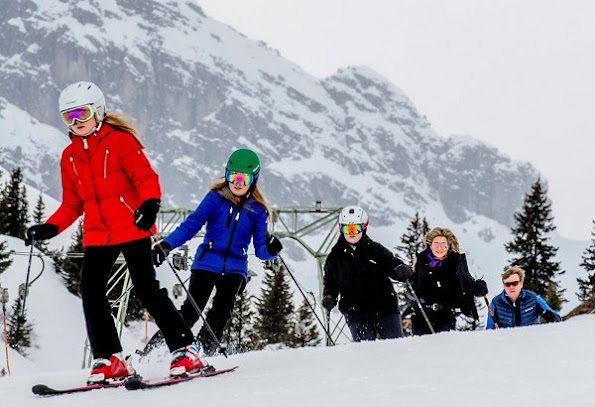 King Willem, Queen Maxima, with their daughters Crown Princess Catharina-Amalia, Princess Alexia and Princess Ariane on holiday at Arlberg Ski center in Lech