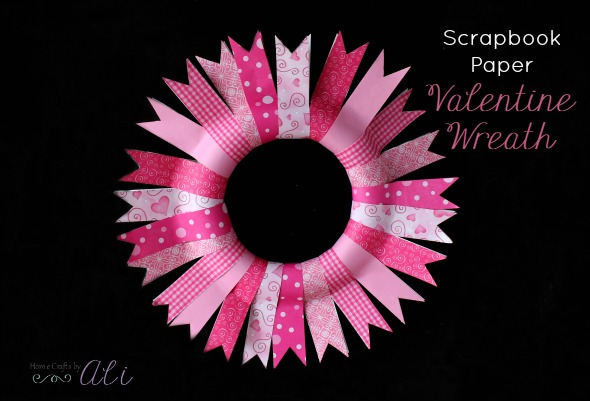 scrapbook paper valentine wreath tutorial