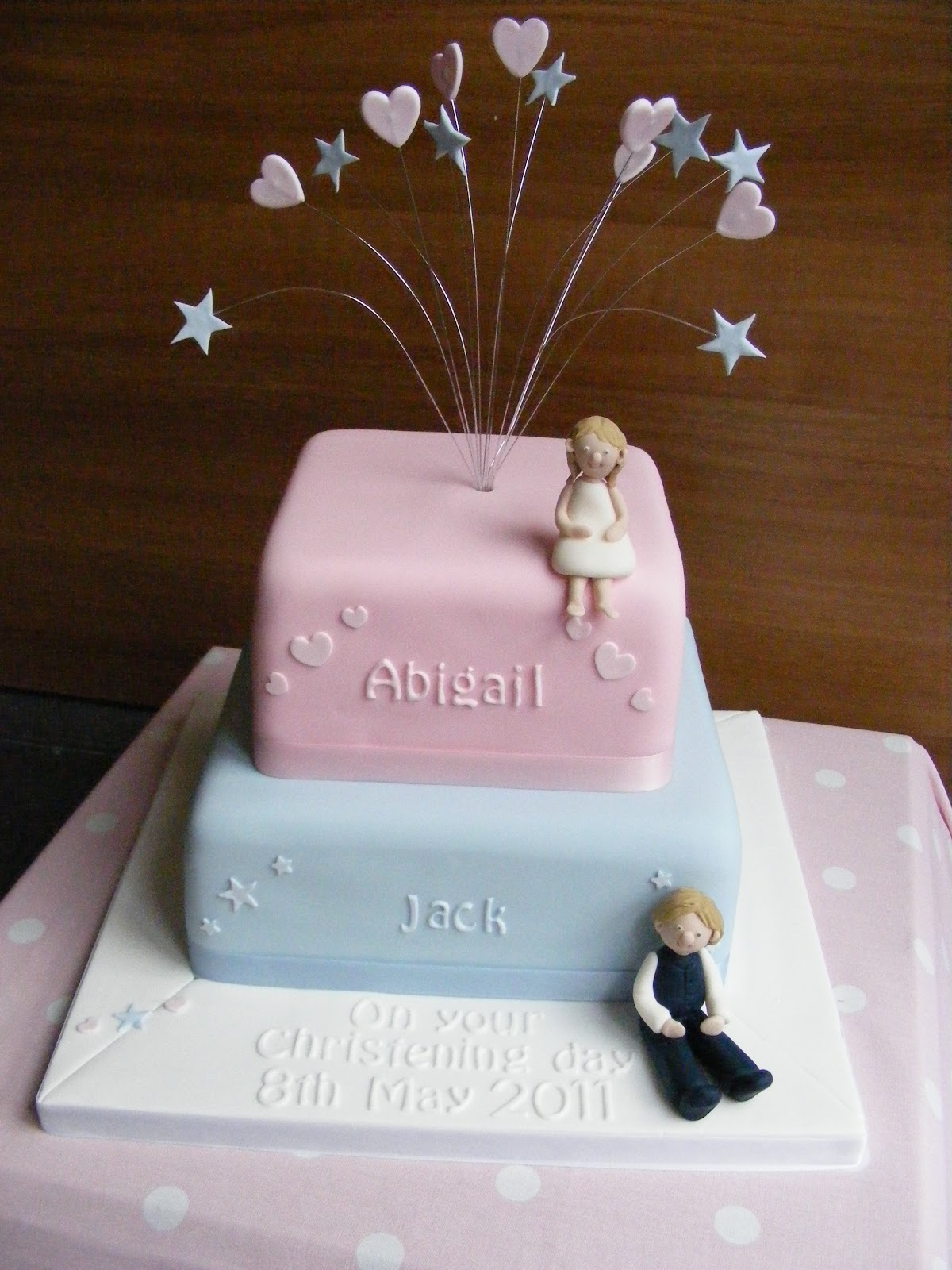 Cakes By Karen Christening Cake For A Boy And Girl