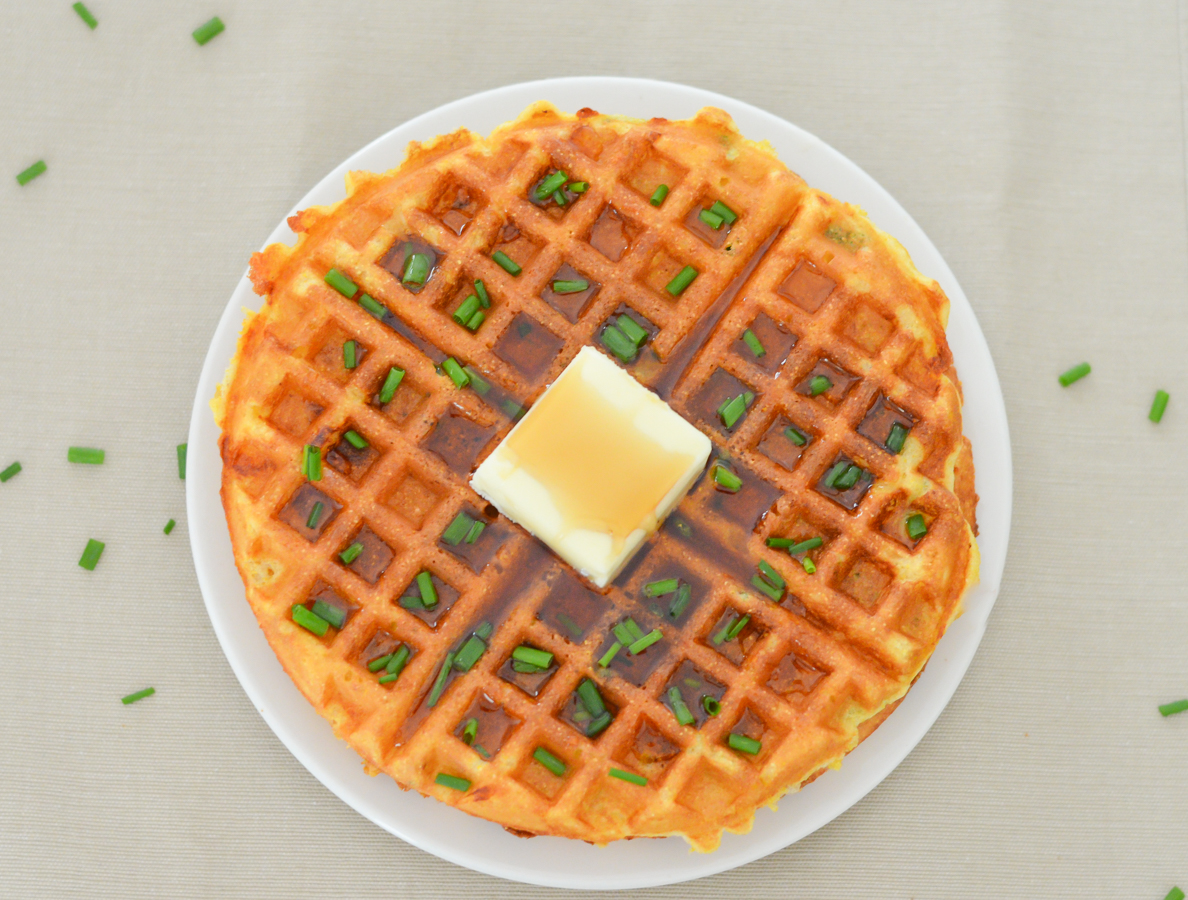 Cheddar + Chive Cornmeal Waffles Brunch Recipe | Luci's Morsels lucismorsels.com