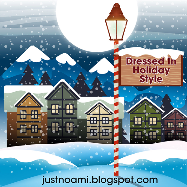 snow falling on houses, roofs covered in snow, lamp post with a sign that says dressed in holiday style