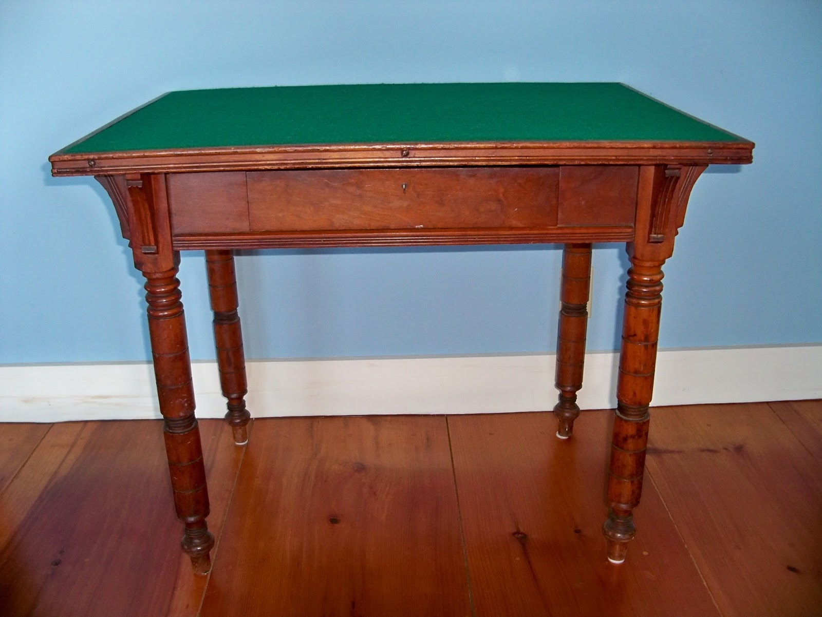 Lovely Old Game Table With Turned Legs And Felt Top Hand Cut Dove Tailed Drawer