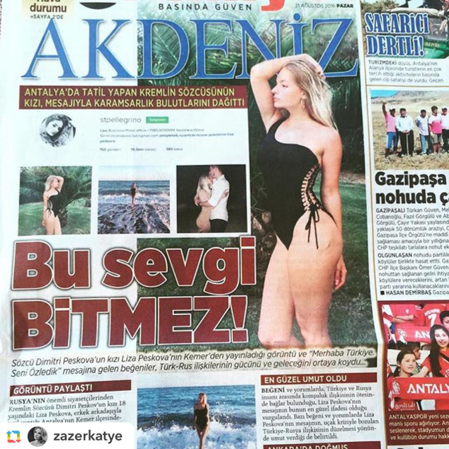 Lisa Peskov on the front pages of Turkish Newspapers