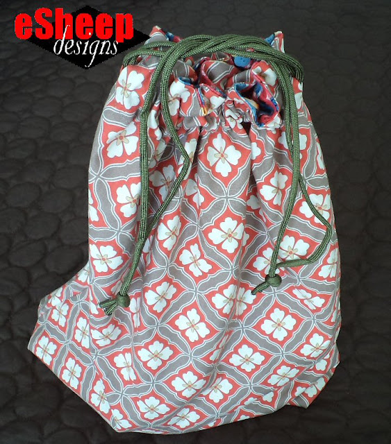 Easiest Ever Reversible Drawstring Bag by eSheep Designs