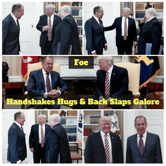 Handshakes Hugs and Back Slaps: Trump yucks it up with Russia's Sergey Lavrov and Sergey Kislyak in the oval office