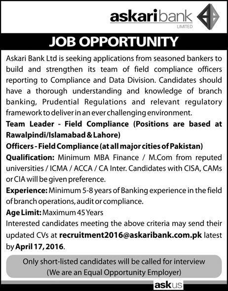 Team Leader & Officers Jobs in Askari Bank Ltd. Pakistan Jobs