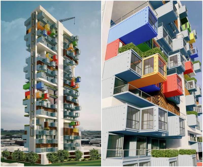 Casas contenedores rascacielos construido con for Arquitectura contenedores maritimos