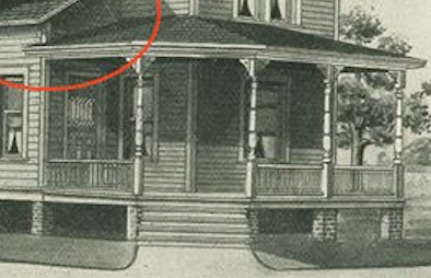 1908 catalog image close up of the front porch columns of the Sears No. 110