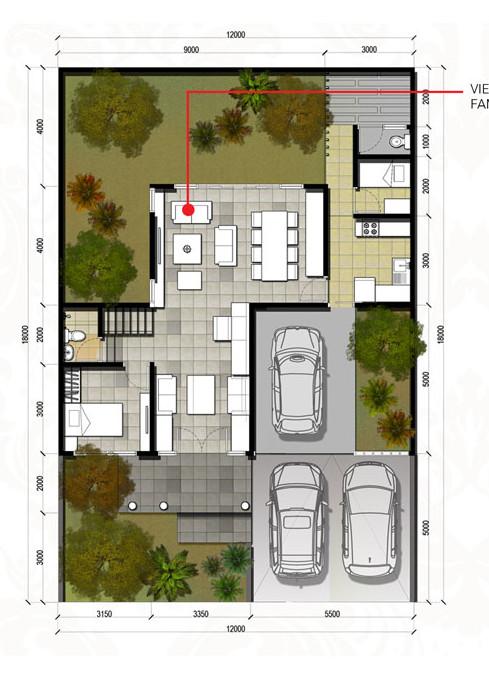 4 Denah Rumah Minimalis Ukuran 12x18 Meter 4 Kamar Tidur 2