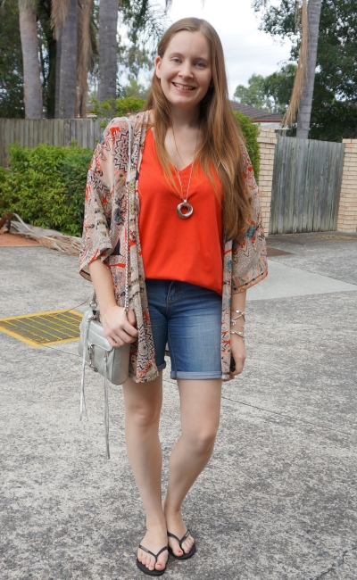 kindness collective kimono coral v-neck tee jeanswest bermuda denim shorts silver mini mac crossbody mum style | away from blue