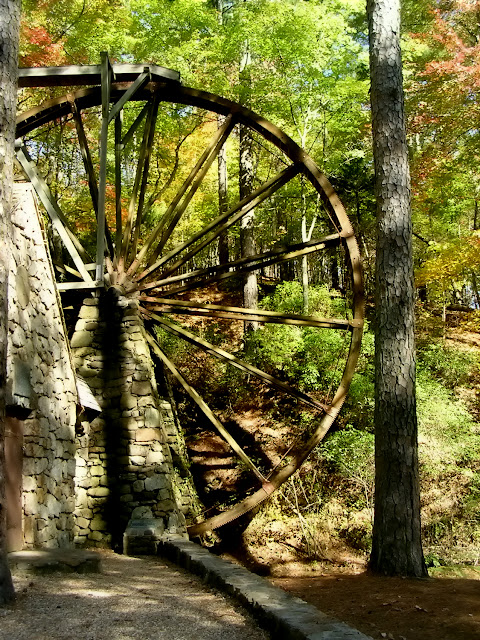 A more complete shot of the wooden water sheel at Berry College in Rome Georgia - notice the water sluice on top of the wheel, and how the delicate the build of the wheel is?