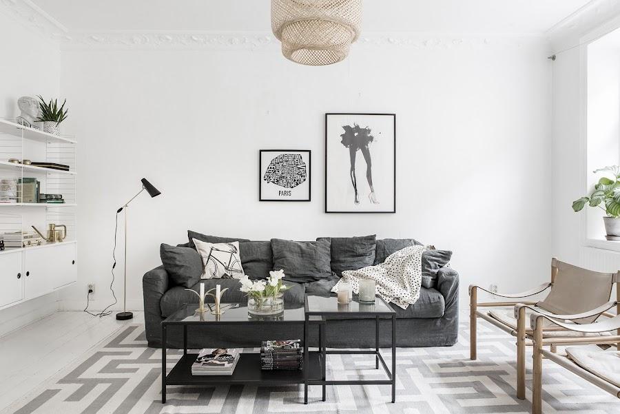 salon, estilo nordico, sofa gris, mesa de centro, decoracion nordica, sofa nordico, estilo nordico, estanterias nordicas, estanterias blancas, alquimia deco, interiorismo,