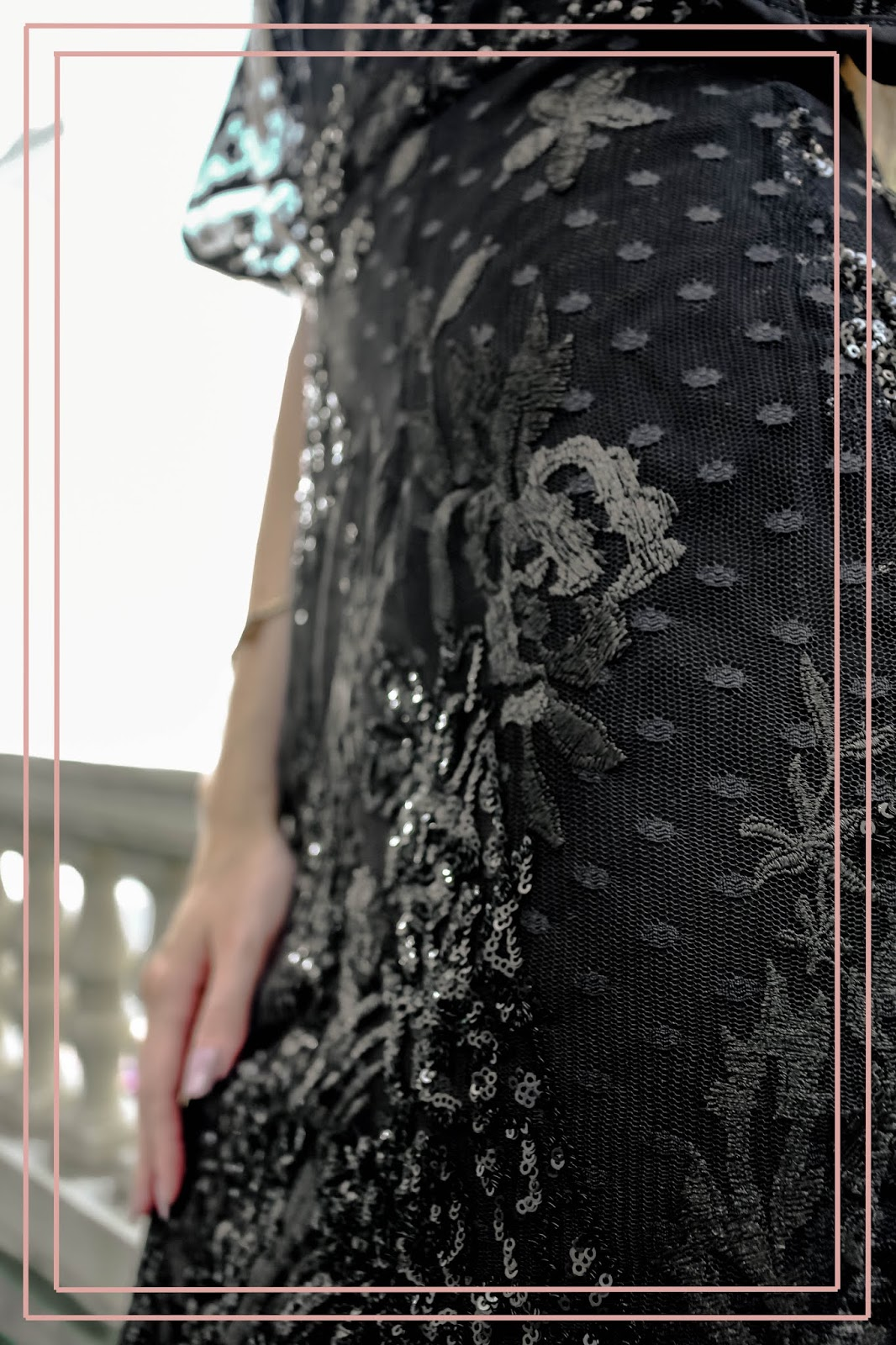 Black Sequinned Floral Material