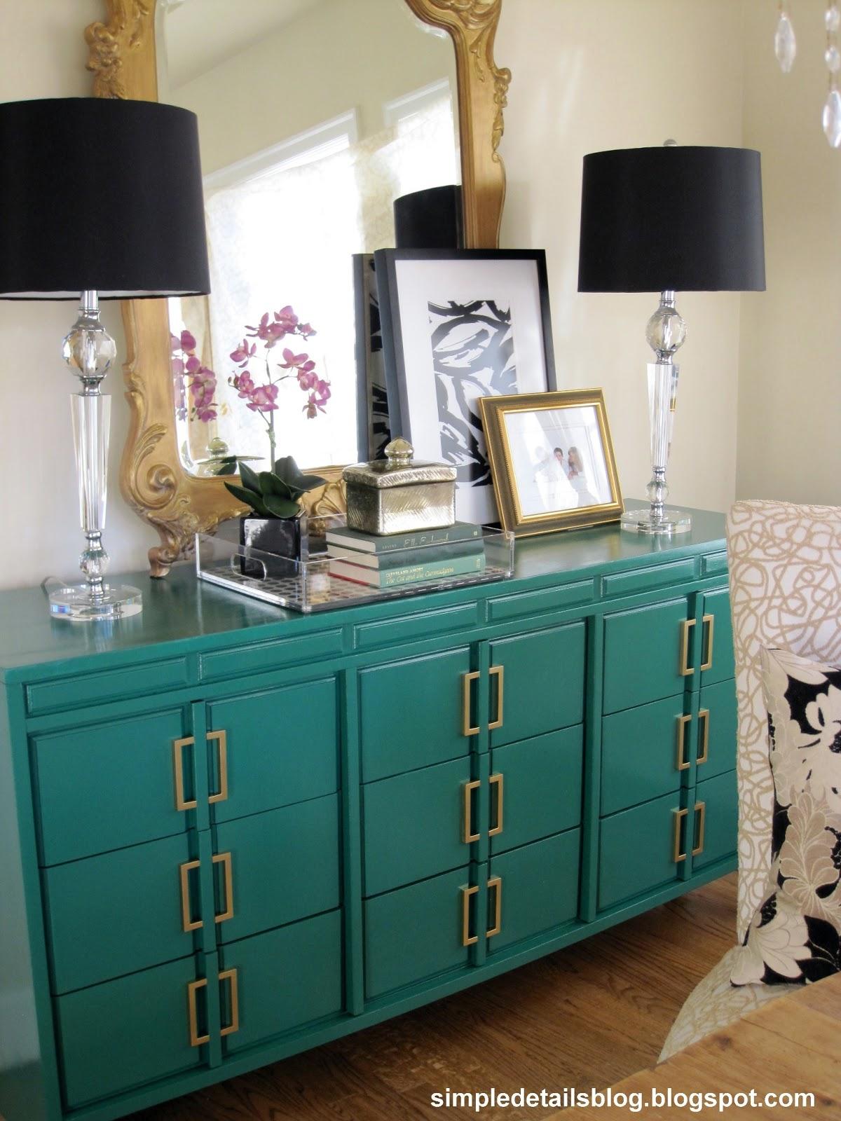Simple Details Emerald Green Dresser Makeover
