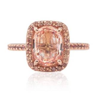 The gorgeous peach orange hue of a Padparadscha sapphire. Image from Laurie Sarah Designs