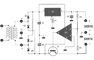 POWER ADJUSTABLE DOUBLE 5 ± 12 Volts 500 mA circuit