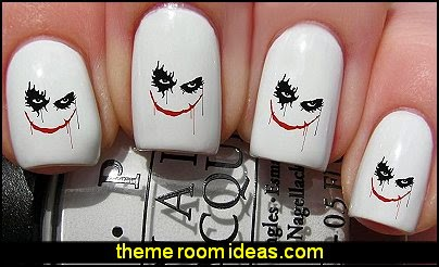 Nail Art Water Transfers Decals - Joker Face  Halloween themed nail designs - nightmare before Christmas nail design ideas - Halloween nail art - Nightmare Before Christmas Jack Skellington - Jack and Sally - creepy nails - spooky nail art design ideas - Horror themed nail decals - Spooky Graveyard nails
