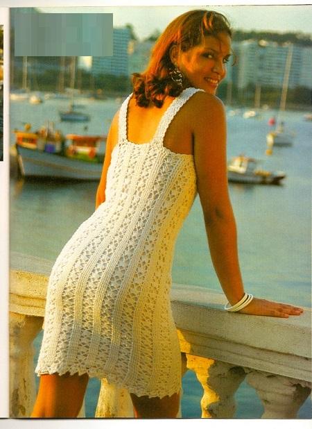 DIY Moda Feminina - Vestido Curto de Crochê Com Gráfico e receita em português