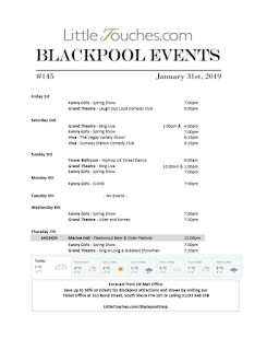 B2B Blackpool Hotelier Free Resource - Blackpool Shows and Events February 1 to February 7 - PDF What's On Guide Listings Print-off #145 Thursday January 31