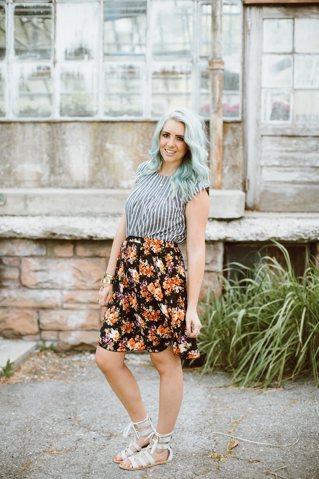Floral Skirt, Striped Shirt, Sole Society Sandals