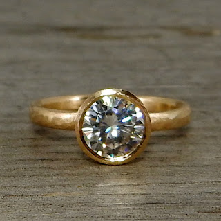 moissanite matte gold ring