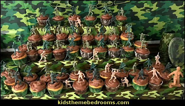 army party cupcakes  army party decorations - Camouflage Party Supplies - army party ideas - Military party ideas for a boy birthday party - Army & Camouflage decorations - army party decoration ideas - army themed party - army costumes - Army Camo Party Supplies -