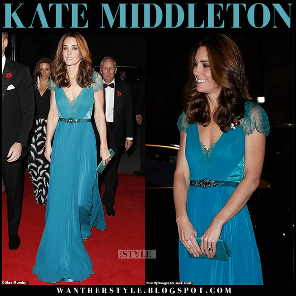 Kate Middleton in teal blue pleated lace detail gown jenny packham royal family fashion november 8