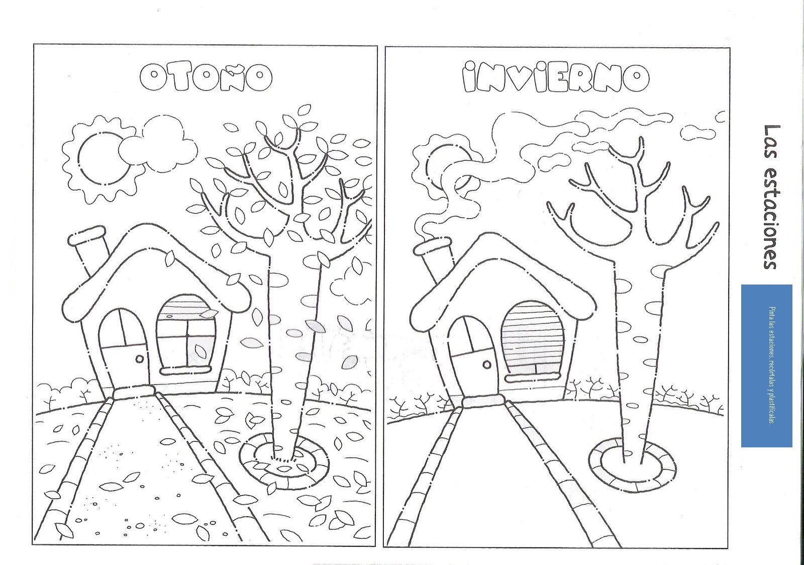 Dibujos De Las 4 Estaciones Para Colorear: Materiales Y Recursos Para Maestr@s: Las Cuatro Estaciones