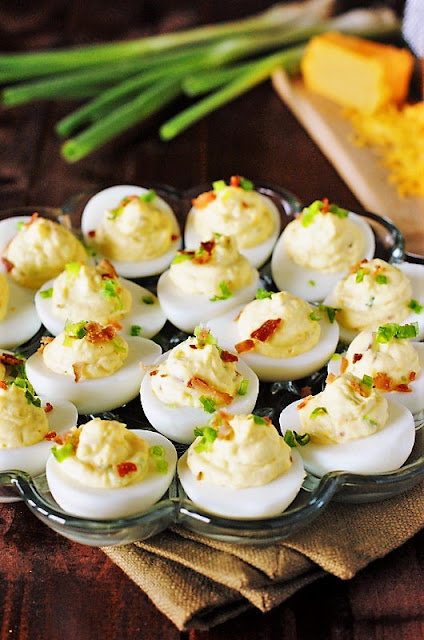 Platter of Bacon-Cheddar Deviled Eggs Image
