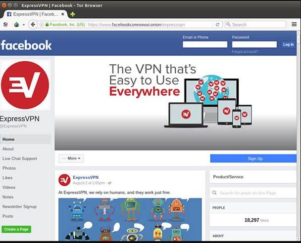 موقع الفيسبوك على الديب ويب